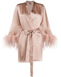 Gilda & Pearl Feather-cuff Dressing Gown - Pink