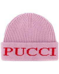 Emilio Pucci - Rib Knit Logo Beanie - Lyst