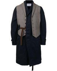 Kolor Waistcoat-detail Single-breasted Coat - Brown