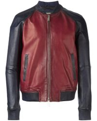 DSquared² - Contrasted Leather Bomber Jacket - Lyst