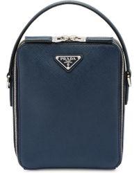2d7cc3f349bc Prada Saffiano Leather Shoulder Bag in Blue for Men - Lyst