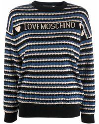 Love Moschino ストライプ プルオーバー - ブルー