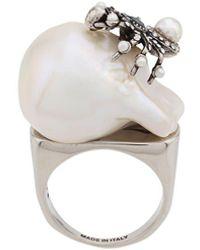 Alexander McQueen Spider Pearl Ring - Metallic