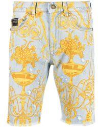 Versace Jeans Couture Джинсовые Шорты С Принтом Baroque - Синий