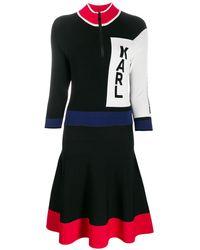 Karl Lagerfeld Colour-block Logo Dress - Black