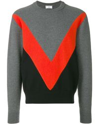 AMI Tricolor Crew Neck Sweater With Contrasted Bands - Grijs