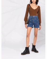 Moschino Pantalones vaqueros cortos con bordado Teddy Bear - Azul