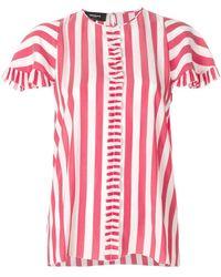 Rochas - Striped Frill Pleat Shirt - Lyst