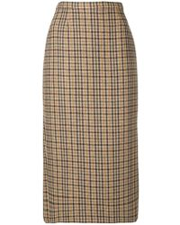 Rochas - Checked Pencil Skirt - Lyst