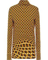 Prada - Geometric Printed Turtleneck Blouse - Lyst