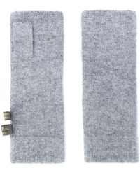 N.Peal Cashmere Fingerless Gloves - Grey