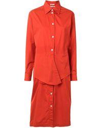 Hermès Платье-рубашка С Завязками На Талии - Красный