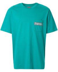 Supreme ポケット Tシャツ - ブルー