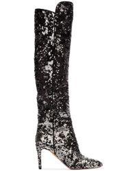 Aquazzura - Gainsbourg 85 Silver Sequin Boots - Lyst
