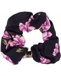 Pinko Floral-print Hair Scrunchie - Black
