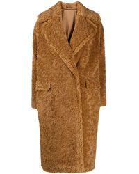 Tagliatore Teddy Single Breasted Coat - Brown