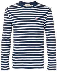 Maison Kitsuné ストライプ ロングtシャツ - ブルー