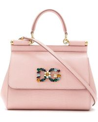 Dolce & Gabbana Мини-сумка Sicily С Кристаллами - Розовый