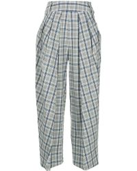 Eudon Choi Checked Cropped Trousers - Grey