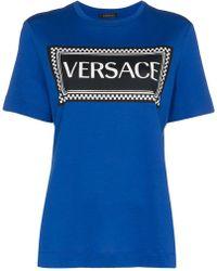 Versace - Chequered Logo Print Cotton T-shirt - Lyst