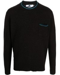 Anglozine Jook Contrast-trim Knitted Jumper - Brown