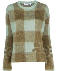 Courreges Long Sleeve Checked Pattern Jumper - Green