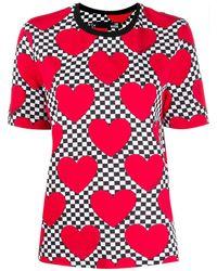 Love Moschino Check Heart Print T-shirt - Red