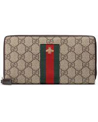 Gucci - Web GG Supreme Zip Around Wallet - Lyst