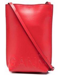Ganni Sac à bandoulière à logo embossé - Rouge