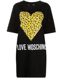 Love Moschino Leopard Print Heart T-shirt Dress - Black