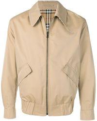 Burberry Reversible Gabardine And Check Harrington Jacket - Brown