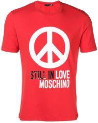 Love Moschino - T-Shirt mit Friedenszeichen - Lyst