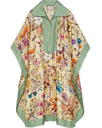 Gucci Flora Print Silk Kaftan - Yellow