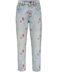 Miu Miu Floral-embroidered Tapered Jeans - Blue