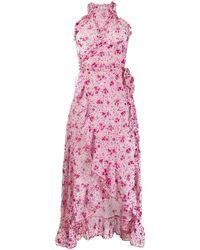 Poupette フローラル ラップドレス - ピンク