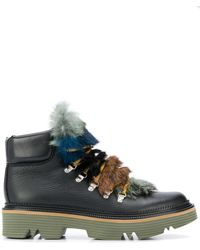 Pollini Fur Tongue Mountain Boots - Black