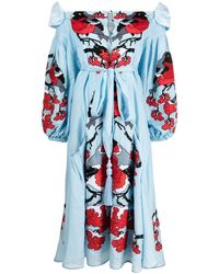 Yuliya Magdych Bullfinches Embroidered Dress - Blue