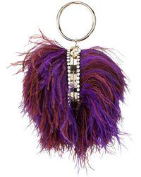 Rosantica Sac à main en plumes à anse poignet - Violet