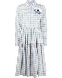 Mira Mikati Check Shirt Midi Dress - Blue