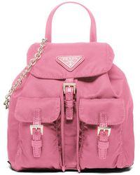 Prada Mini Rucksack mit Logo-Schild - Pink