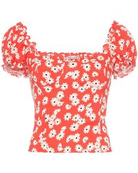 Reformation Jewel Floral Print Bustier Top - Red