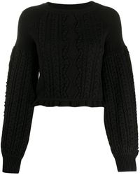 Ports 1961 Balloon-sleeve Cable Knit Jumper - Black