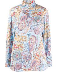 Etro Paisley Print Spread Collar Shirt - Blue
