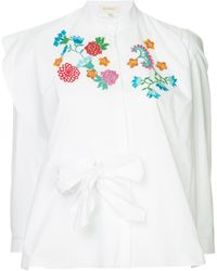 Delpozo Embroidered flower blouse - Blanc