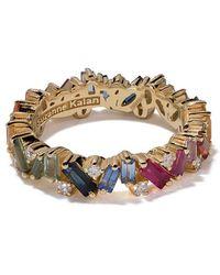 Suzanne Kalan - 18kt Yellow Gold, Diamond And Sapphire Eternity Rainbow Band - Lyst