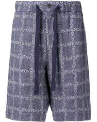 JW Anderson ロゴプリント ショートパンツ - ブルー