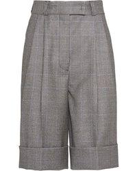 Miu Miu Mini Check Long Pleat Front Shorts - Gray