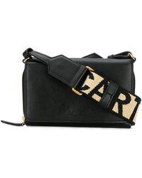 Stella McCartney Mini sac à bandoulière à logo - Noir
