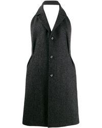 Maison Margiela Пальто С Открытой Спиной И Узором В Елочку - Черный