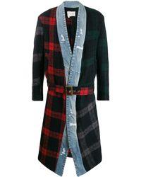 Greg Lauren Contrast Tartan Patterned Belted Coat - Blue